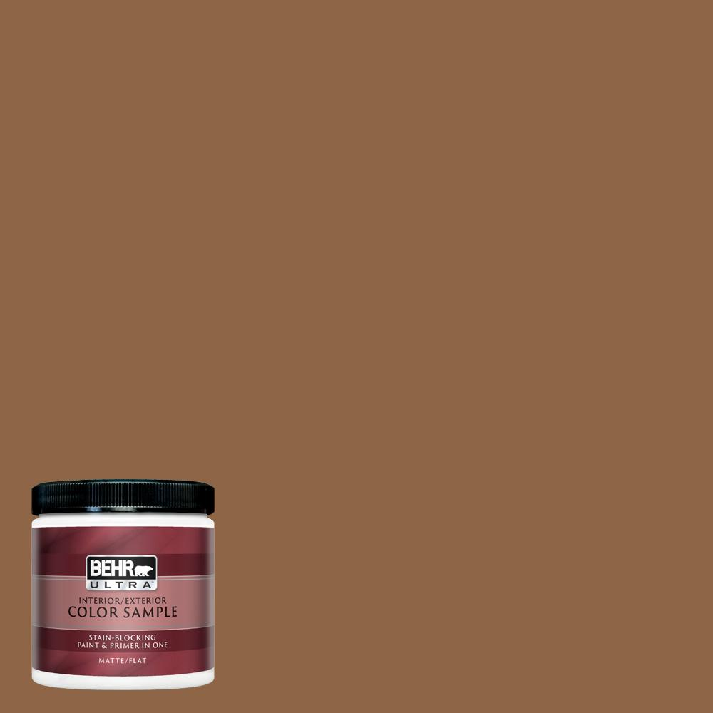 Behr Ultra 8 Oz 270f 7 English Saddle Matte Interior Exterior Paint And Primer In One Sample