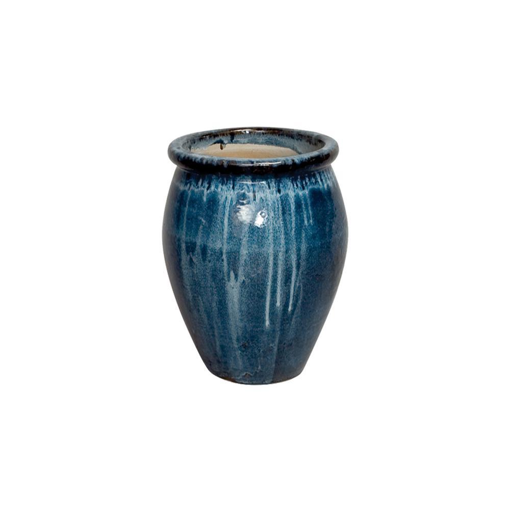19 in. Round Quin Blue Lip Ceramic Planter