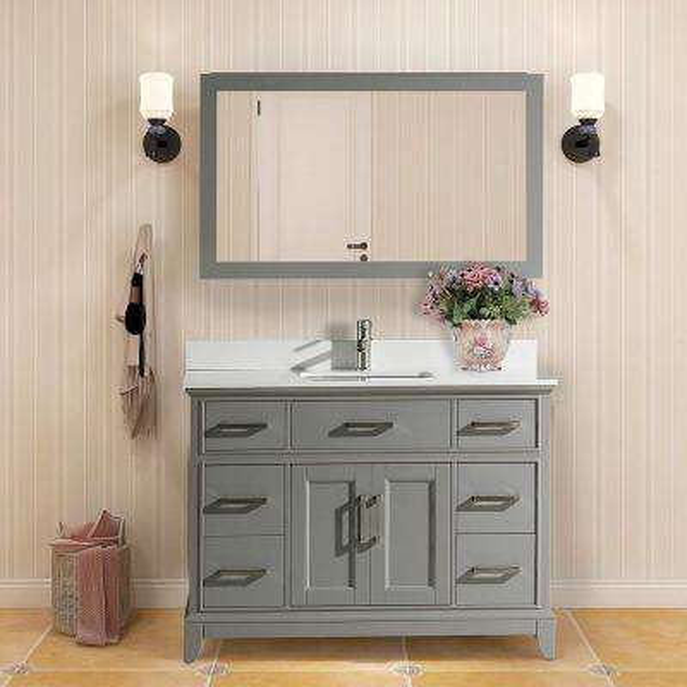 Genoa 48 in. W x 22 in. D x 36 in. H Vanity in Grey with Single Basin Vanity Top in White Phoenix Stone and Mirror