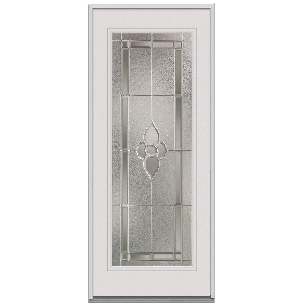 Milliken Millwork 34 in. x 80 in. Master Nouveau Decorative Glass Full Lite Primed White Steel Replacement Prehung Front Door