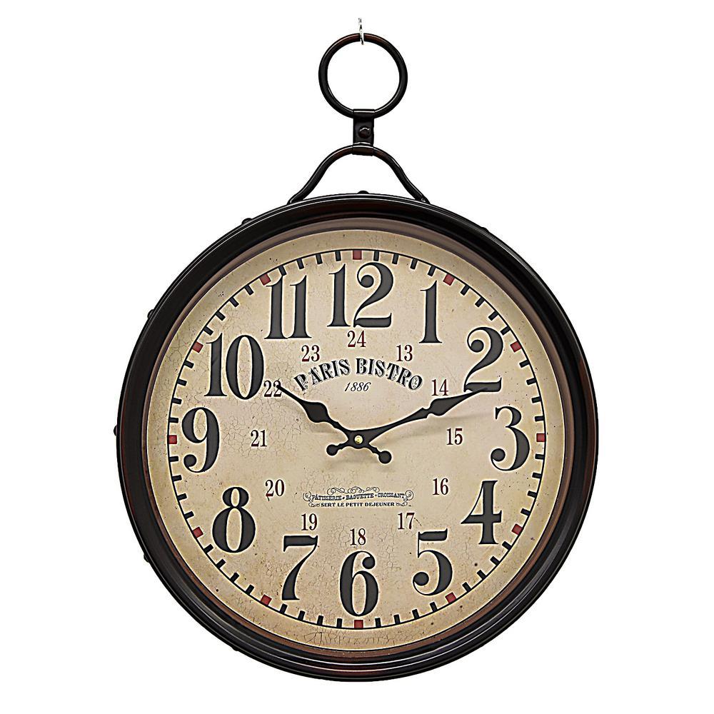 21.5 in. x 15.75 in. Metal Wall Clock in Black