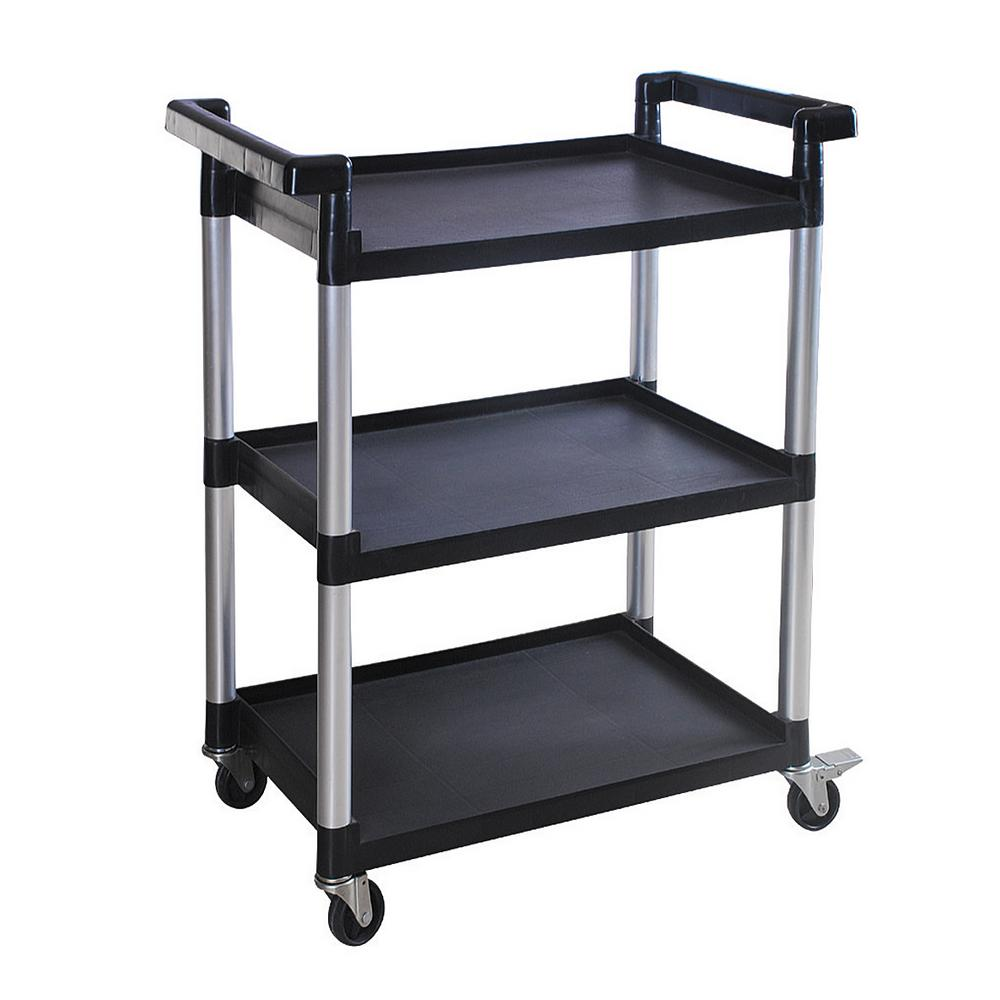 Maxworks 16in W x 32in D x 36.5in H 3-Shelf Utility Cart with Wheels