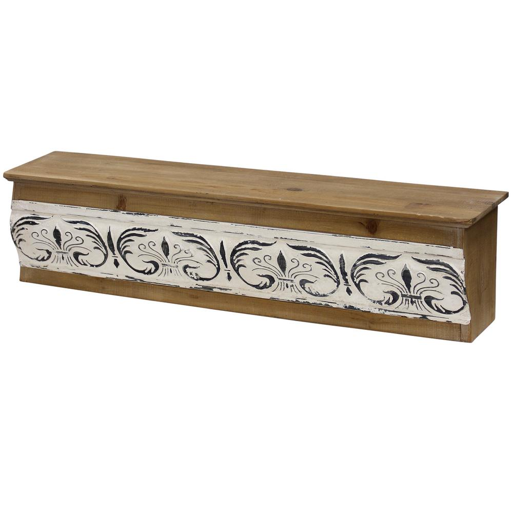 StyleCraft Farmhouse Weathered Cream, Black, Natural Metal, Wood Wall Shelf, Ivory was $110.99 now $46.32 (58.0% off)