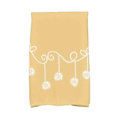 16 in. x 25 in. Gold Sanddollar Ornaments Holiday Geometric Print Kitchen Towel