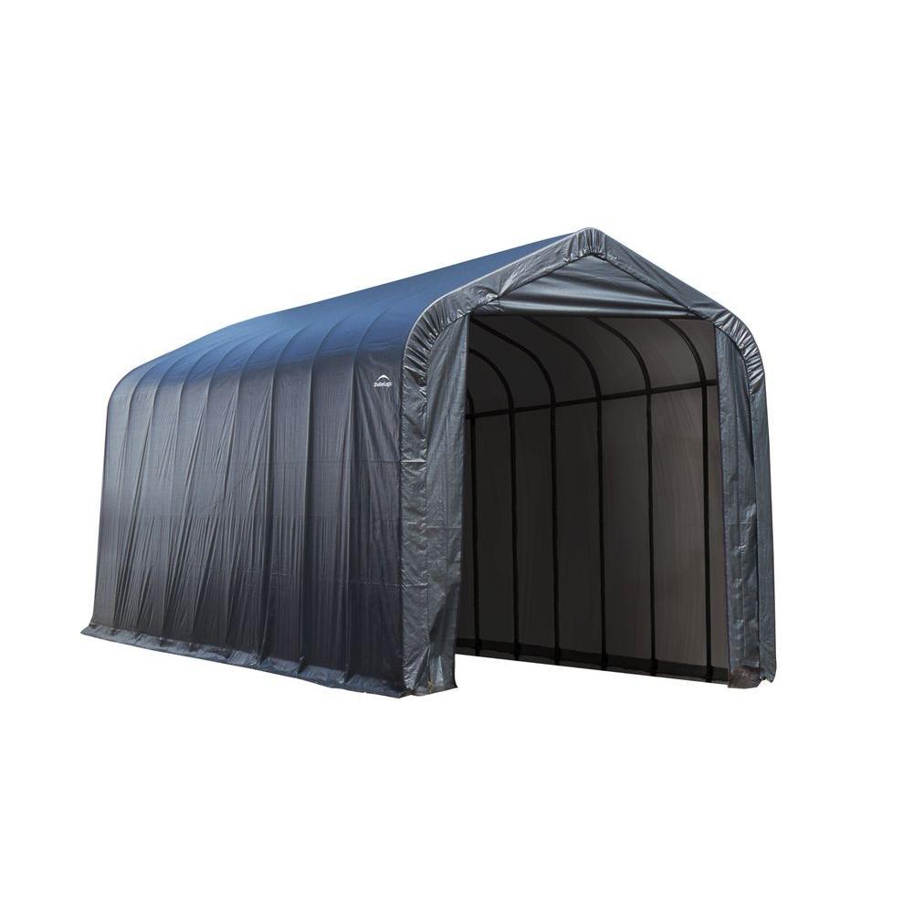 ShelterLogic 15 ft. x 32 ft. x 12 ft. Grey Cover Peak Style Shelter - DISCONTINUED