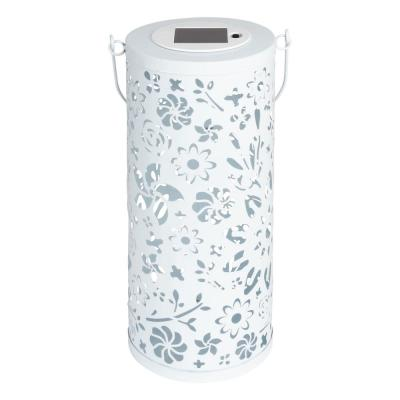 Bloom 12 in. White Integrated LED Outdoor Bulkhead Solar Punched Metal Lantern