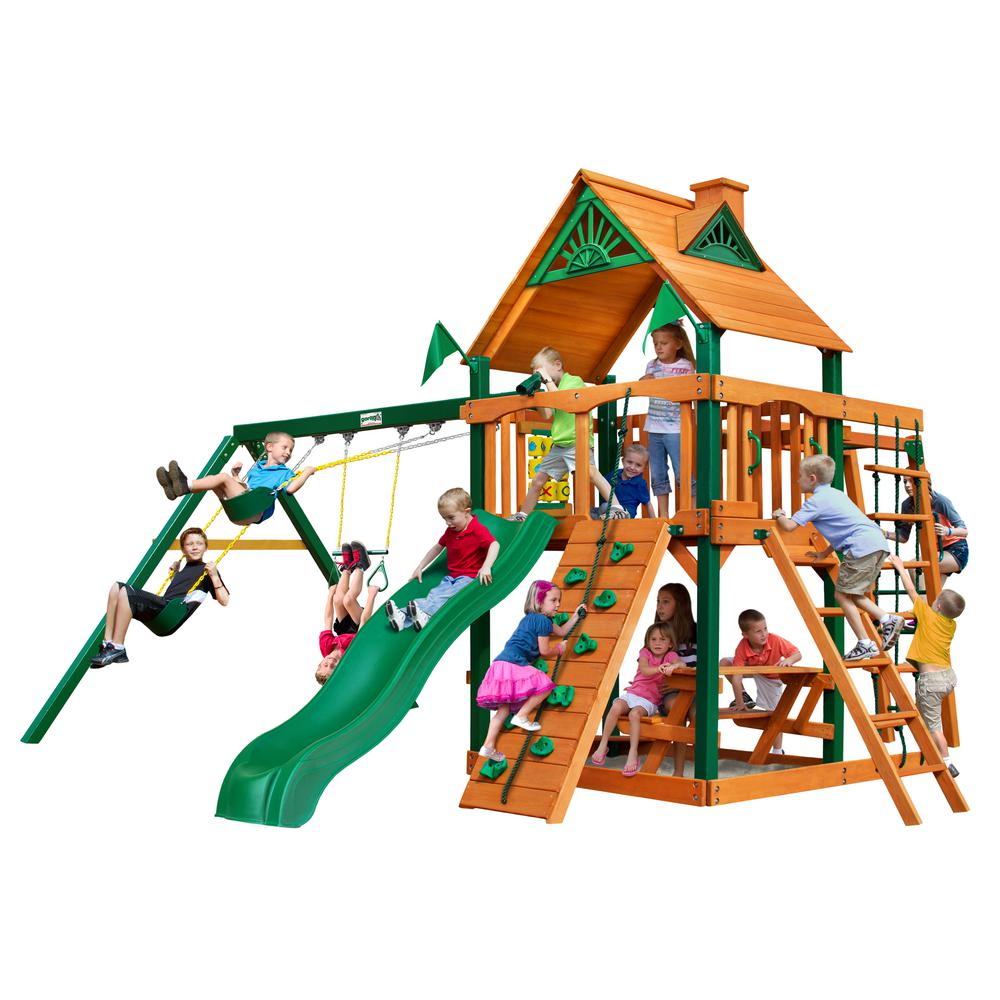 Gorilla Playsets Navigator Wooden Swing Set with Timber Shield Posts, Monkey Bars and Alpine Slide