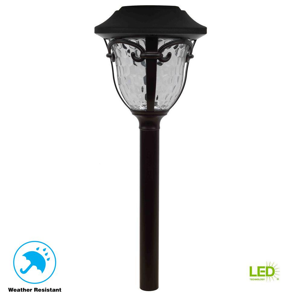 Hampton Bay Open Stock Solar Bronze Outdoor Integrated LED Landscape Path Light with Water Glass Lens