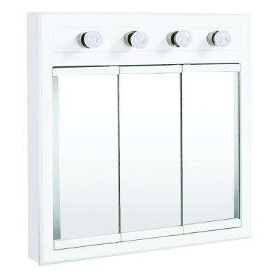 Concord 30 in. x 30 in. 4-Light Tri-View Surface-Mount Medicine Cabinet in White Gloss