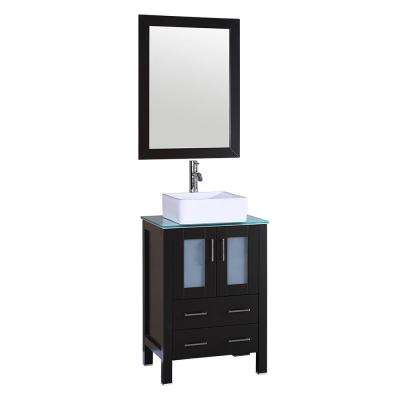 24 in. W Single Bath Vanity in Espresso with  Glass Vanity Top with White Basin and Mirror