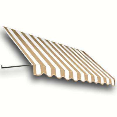 10 ft. Dallas Retro Window/Entry Awning (16 in. H x 30 in. D) in Linen/White Stripe