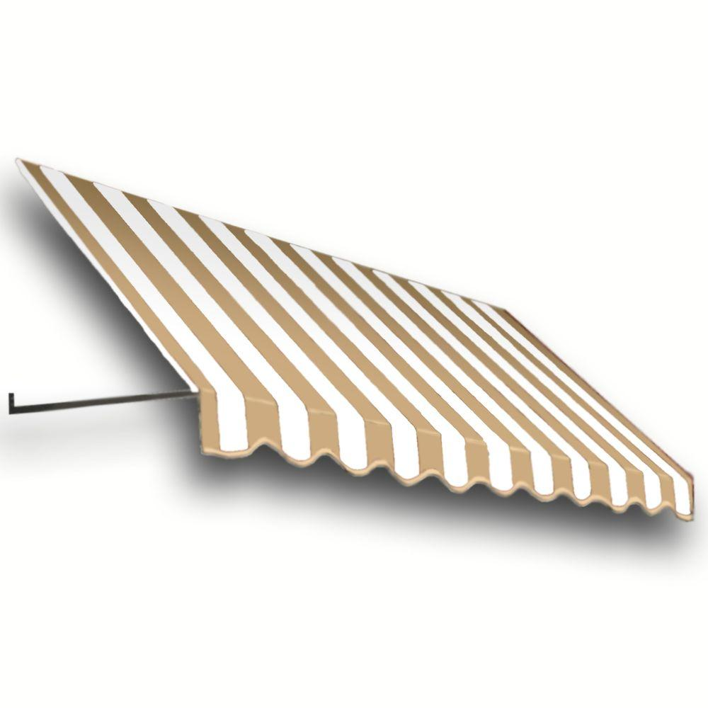 AWNTECH 12 ft. Dallas Retro Window/Entry Awning (24 in. H x 48 in. D) in Linen/White Stripe