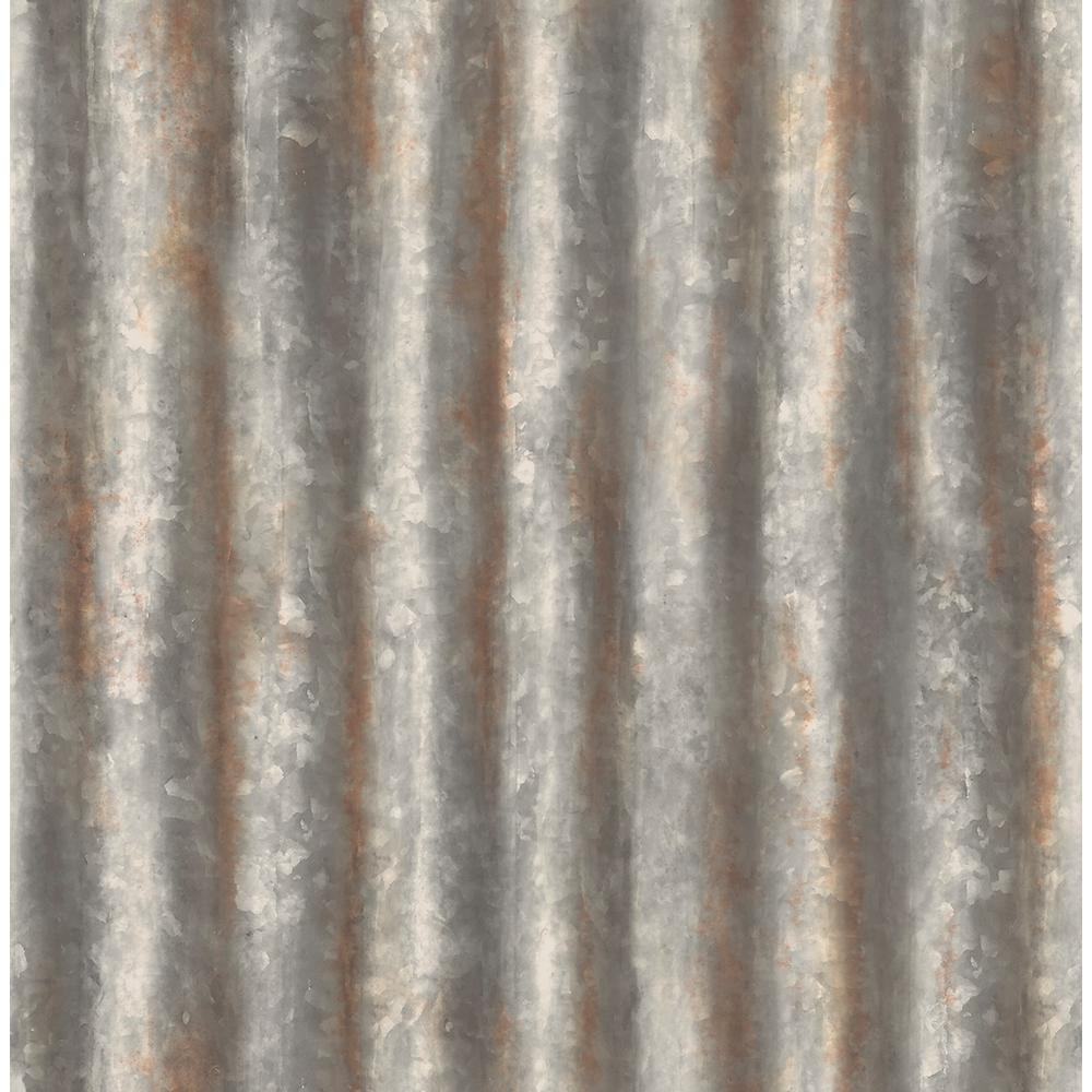 Unbranded Solvang Charcoal Corrugated Metal Industrial Texture Paper Strippable Wallpaper Roll Covers 56 4 Sq Ft Br2701 22333 The Home Depot