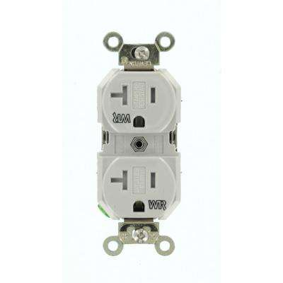 20 Amp Industrial Grade Weather/Tamper Resistant Self Grounding Duplex Outlet, Gray