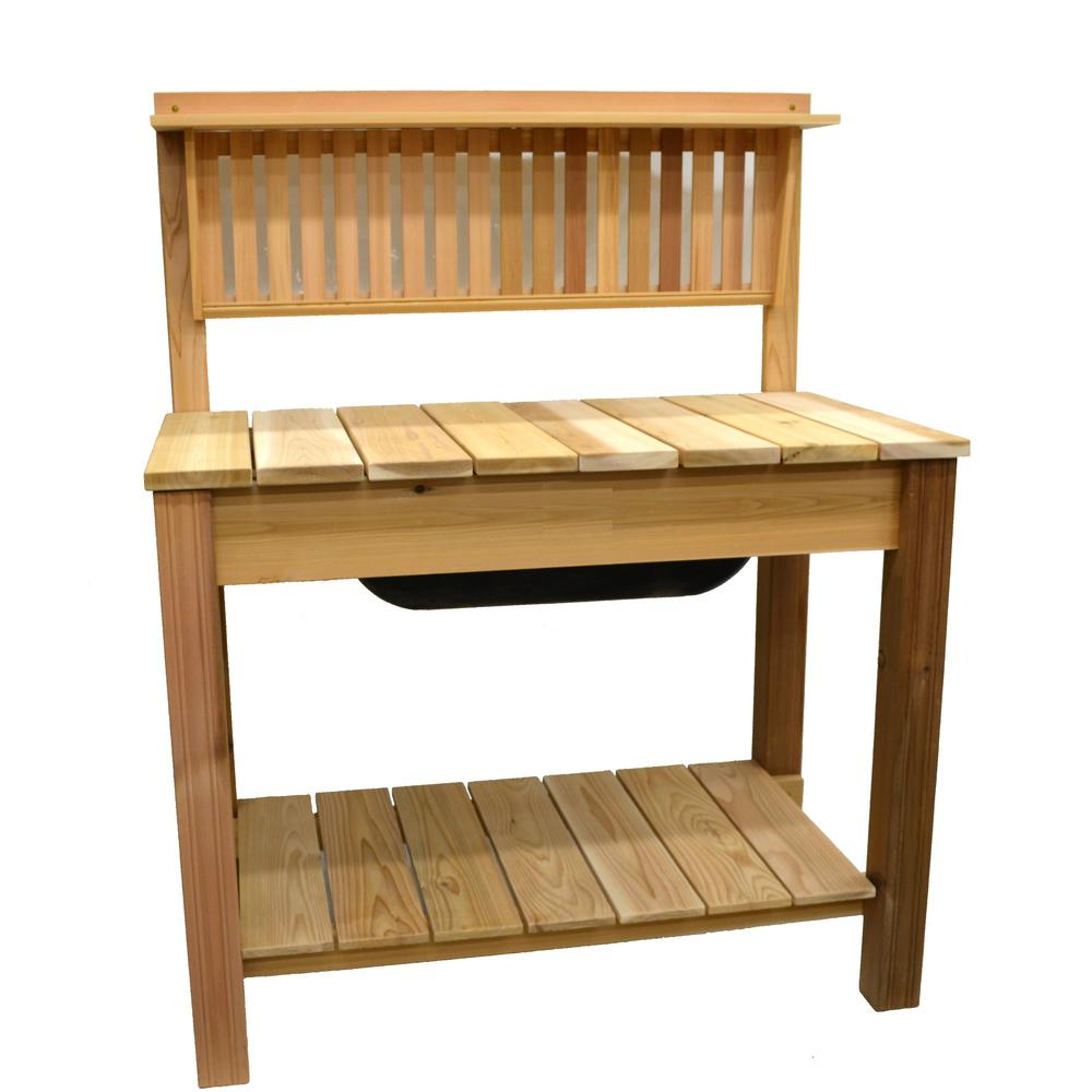 44.75 in. x 60.5 in. Natural Cedar Potting Bench with Modern