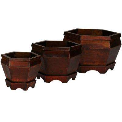 7.5 in. H Brown Wooden Hexagon Decorative Planter (Set of 3)