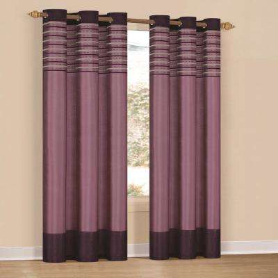 Cityscape 38 in. x 84 in. L Polyester Curtain Panel in Purple Dehlia (2-Pack)