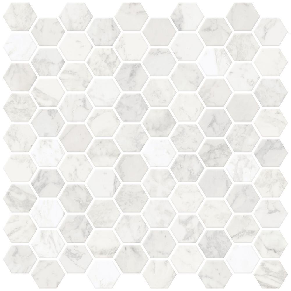 White Hexagon Marble Peel Stick Backsplash Tiles