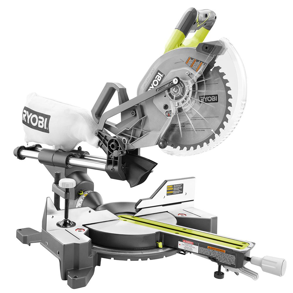 Ryobi 18 volt oneone cordless brushless 10 in dual bevel sliding ryobi 18 volt oneone cordless brushless 10 in dual bevel sliding miter saw tool only p3650b the home depot greentooth Image collections