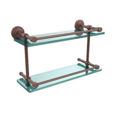 Waverly Place 16 in. L x 8 in. H x 5 in. W 2-Tier Clear Glass Bathroom Shelf with Gallery Rail in Antique Copper