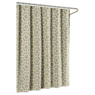 Lenox Cotton Luxury 72 in. W x 72 in. L Shower Curtain in Taupe