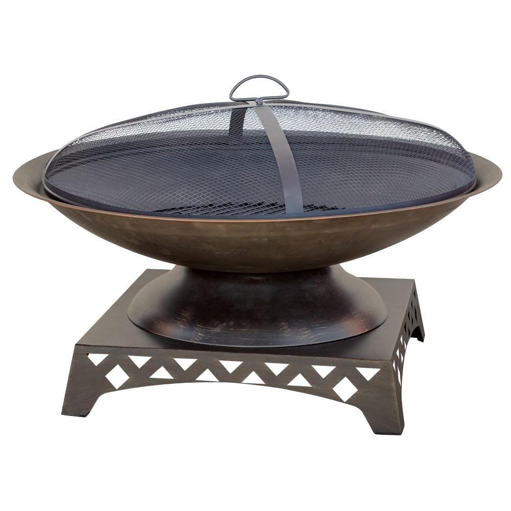 30 in. Bronze Fire Pit with Pedestal Base