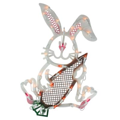 18 in. 35-LED Clear Lighted Easter Bunny Rabbit Spring Window Light Decoration