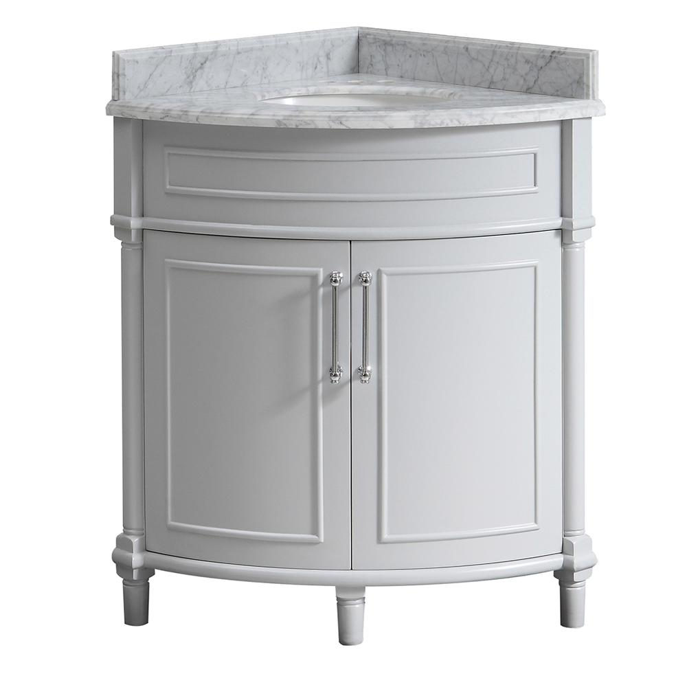 Home Decorators Collection Aberdeen 32 in. W x 23 in. D Corner Vanity in Grey with Carrara Marble Top with White Sinks
