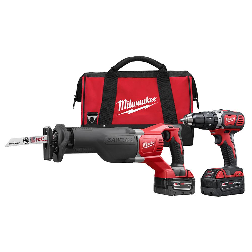 Milwaukee M18 18-Volt Lithium-Ion Cordless Hammer Drill/SAWZALL Combo Kit (2-Tool) w/(2) 3.0Ah Batteries, Charger, Tool Bag