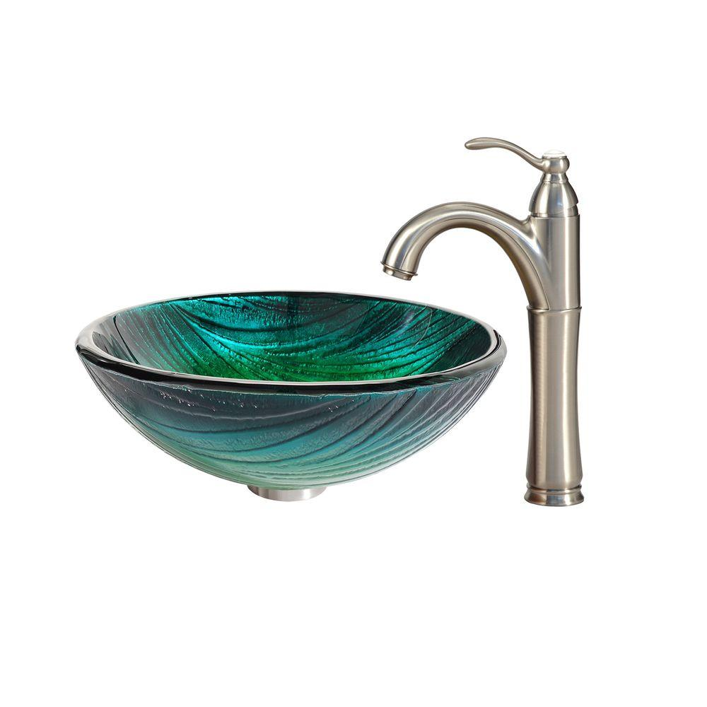 KRAUS Nei Glass Vessel Sink in Green with Riviera Faucet in Satin Nickel