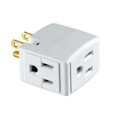 Grounded Triple Cube Outlet Adapter, White