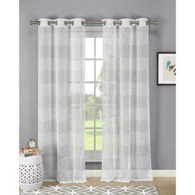 Lurex Stripe 84 in. Linen-look with Lurex in Silver (2-Pack)