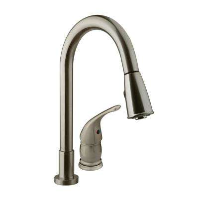 RV Single-Handle Pull-Down Sprayer Kitchen Faucet with Multiple Spray Functions in Brushed Satin Nickel