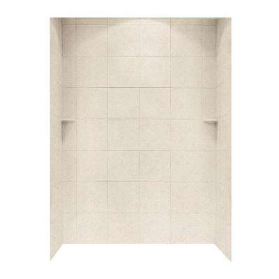 Square Tile 36 in. x 62 in. x 96 in. 3-Piece Easy Up Adhesive Alcove Shower Surround in Tahiti Sand