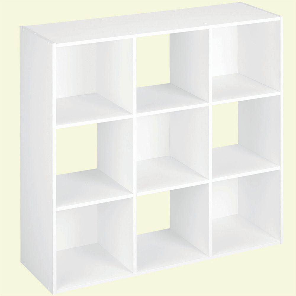 H White Stackable 9-Cube Organizer  sc 1 st  The Home Depot & ClosetMaid 36 in. W x 36 in. H White Stackable 9-Cube Organizer ...