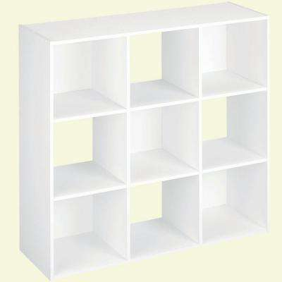36 In. W X 36 In. H White Stackable 9 Cube Organizer