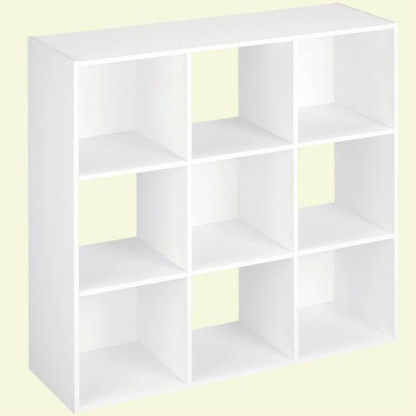 36 in. H x 36 in. W x 12 in. D White Wood Look 9-Cube Storage Organizer