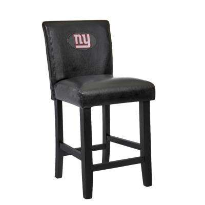 New York Giants 24 in. Black Bar Stool with Faux Leather Cover (Set of 2)