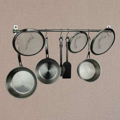 Habitat Stainless Steel 24 in. Wall Rack Utensil Bar with 10 S Hooks