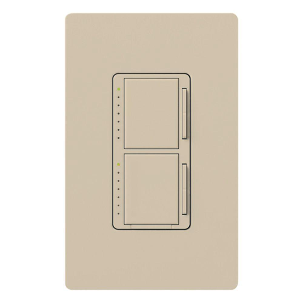 Lutron maestro 300 watt single pole dual dimmer taupe ma for Lutron dimmers