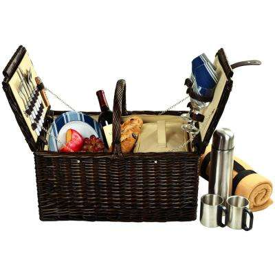 Surrey Willow Picnic Basket with Service for 2, Blanket and Coffee Set in Blue Stripe