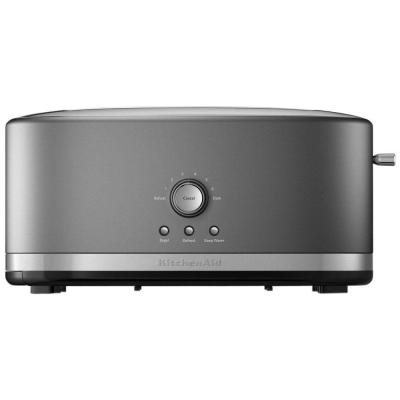 4-Slice Contour Silver Long Slot Toaster with Crumb Tray