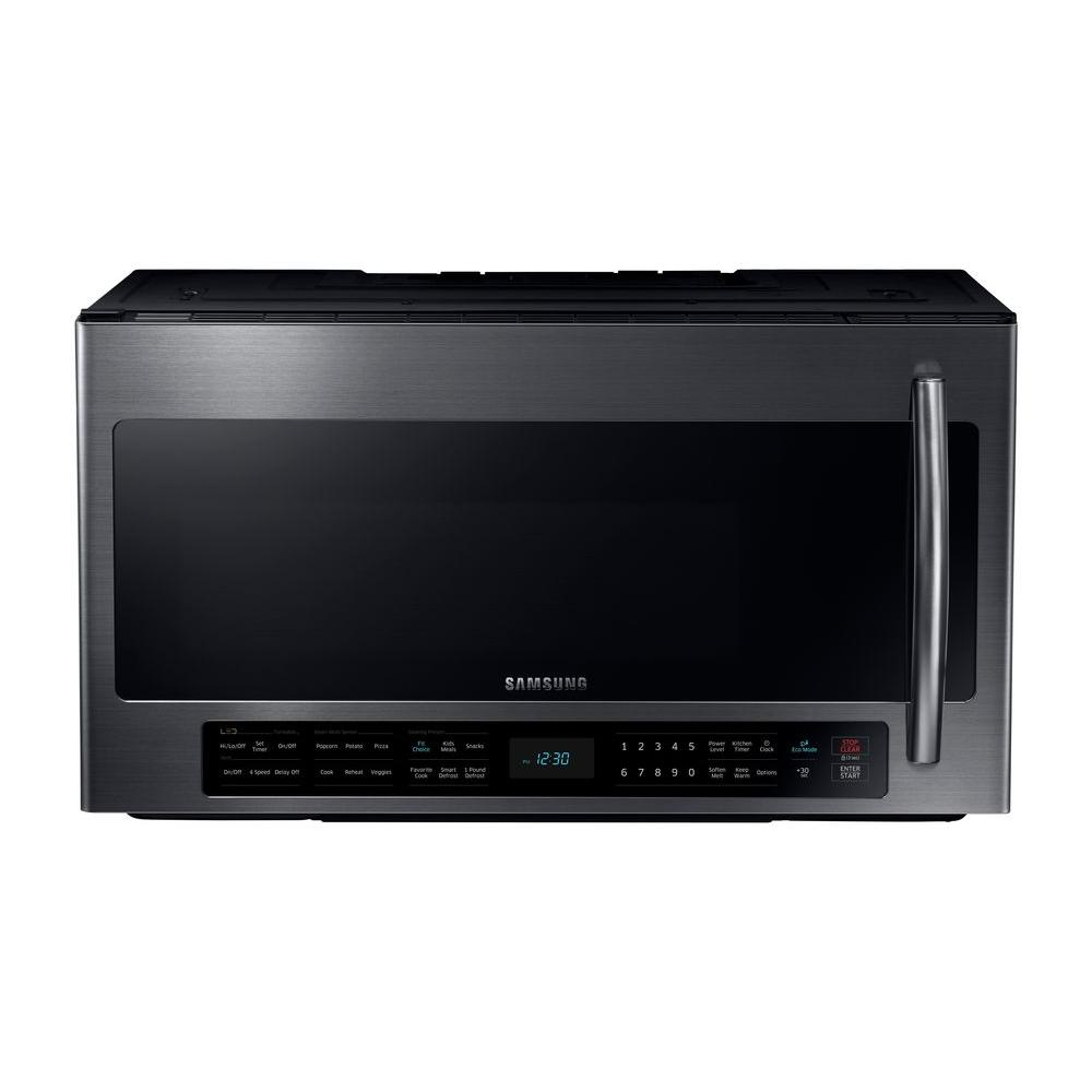 Samsung 30 In 2 1 Cu Ft Over The Range Microwave Black Stainless With Sensor Cooking And Ceramic Enamel Interior Me21h706mqg Home Depot