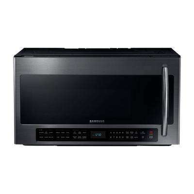 30 in. 2.1 cu. ft. Over the Range Microwave in Black Stainless with Sensor Cooking and Ceramic Enamel Interior