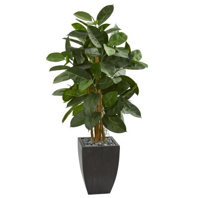 Indoor 56-In. Artificial Rubber Tree in Black Planter