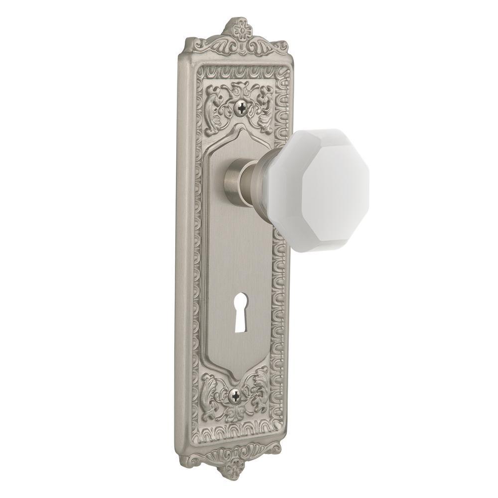 Egg and Dart Plate with Keyhole 2-3/4 in. Backset Satin Nickel