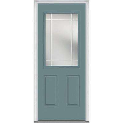 36 in. x 80 in. Prairie Internal Muntins Right-Hand 1/2 Lite 2-Panel Classic Painted Steel Prehung Front Door