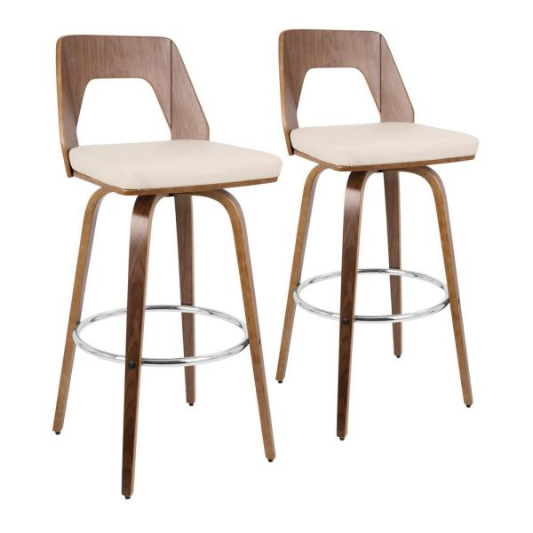 Trilogy 30 in. Walnut and Cream Faux Leather Bar Stool (Set of 2)