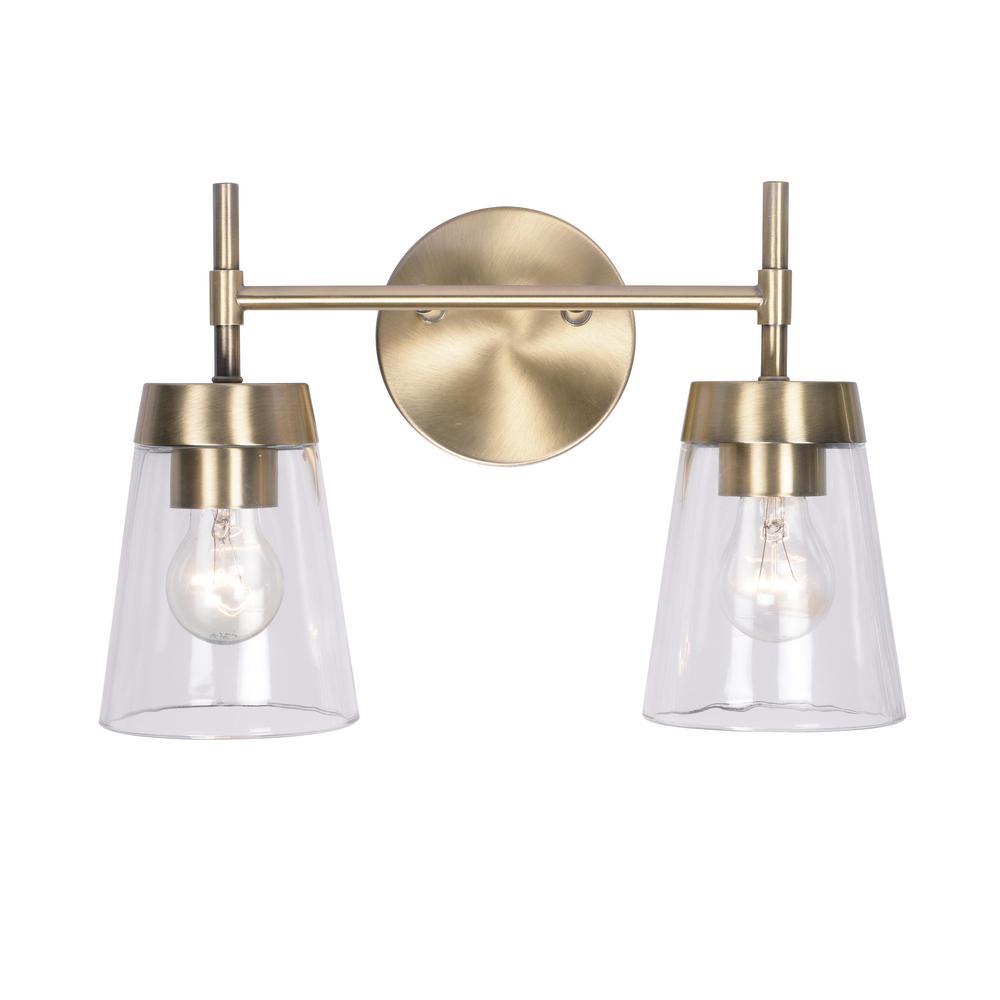 Delgato 2-Light Antique Brass Bathroom Vanity Light