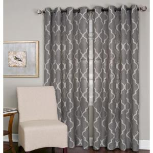 Click here to buy  Semi-Opaque Medalia Dark Gray Grommet Top Window Curtain Panel - 52 inch W x 95 inch L.